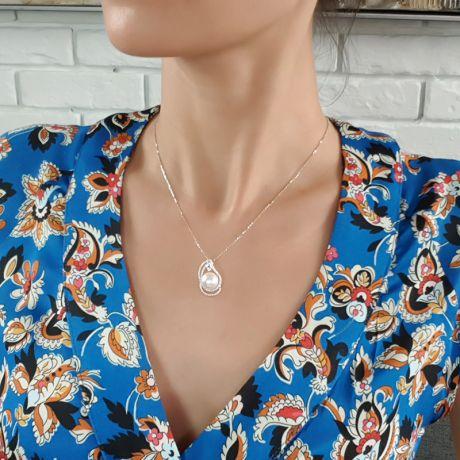 Pendentif goutte d'or blanc et diamants - Perle d'Australie blanche