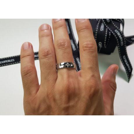 Chevalière - Bague chevalière homme en or blanc - 1 diamant central | Borgia