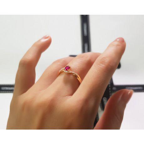 Anello Tra Le Dita - Oro Giallo, Rubino Ovale & Diamanti