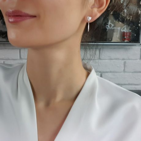 Boucles d'oreilles diamants Or blanc pendantes forme goutte