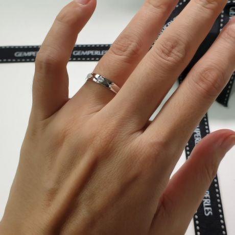 Fede Nuziale Nerys da Donna - Anello in Oro Bianco e Diamante