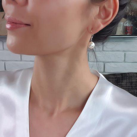 Orecchini Cavaliere - Perle Acqua Dolce Bianche, Monachella Oro Bianco
