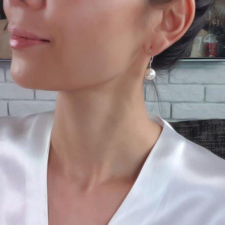 Orecchini Estia - Perle Acqua Dolce Bianche, Monachella Oro Bianco