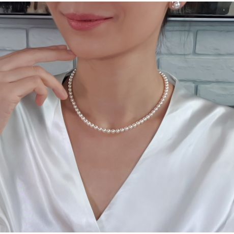 Collana di Perle Akoya Giapponesi Bianche - 4.5/5mm, AAA | Gemperles
