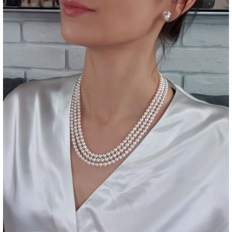 Collier 3 rangs - Perle Akoya du Japon - Perles blanches - 4.5/5mm