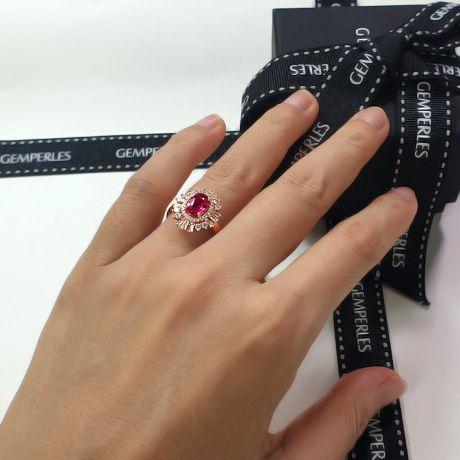 Anello di Fidanzamento Cesária Évora - Oro Rosa, Rubino Birmania & Diamanti