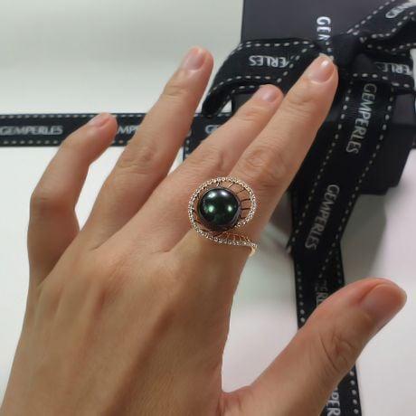 Anello Elliptique - Oro Giallo, Diamanti e Perla di Tahiti
