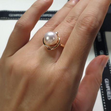 Bague perle d'eau douce blanche - 9/9.5mm, AAA - Or jaune, diamant