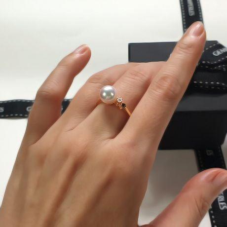 Anello De Yuo - Oro Giallo, Diamante e Perla Akoya