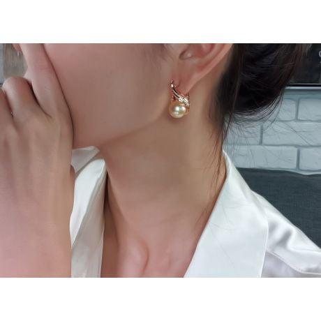 Boucles oreilles paons merveilleux - Perles dorées, diamants, or jaune