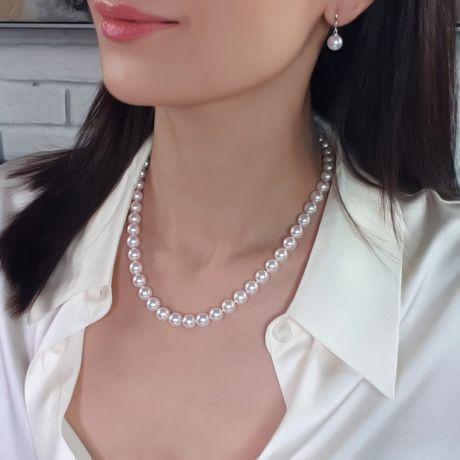 Collier perles Akoya  - Perle fine blanche cultivée Japon - 8/8.5mm