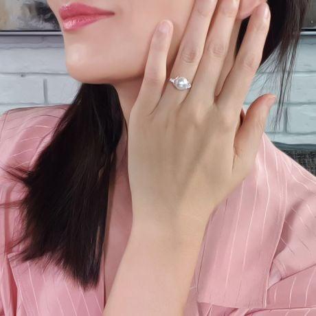 Bague or perle du Japon - Perle Akoya blanche - Or blanc, diamants