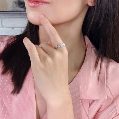 Anello Hanaé - Oro Bianco, Diamanti e Perla Akoya