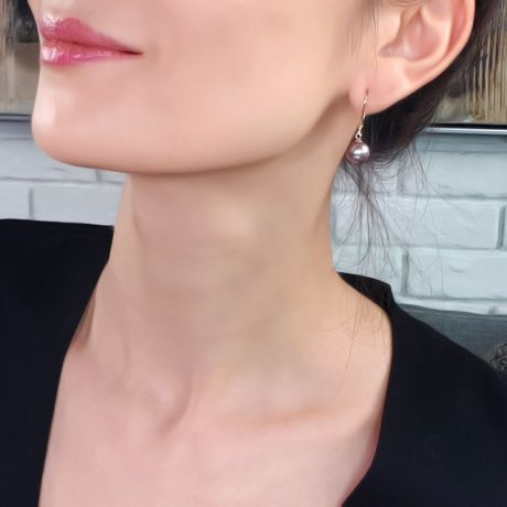 Orecchini Kali - Perle Acqua Dolce Viola, Monachella Oro Giallo