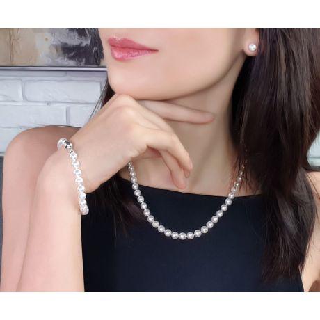 Parure perles Akoya or blanc - Bijoux collier et boucles oreilles