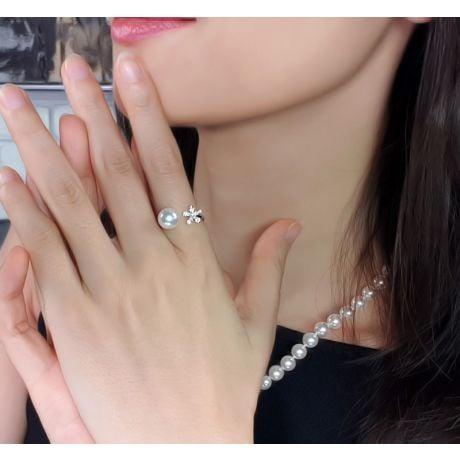 Anello Ko No Hana - Oro Bianco, Diamanti e Perla Akoya
