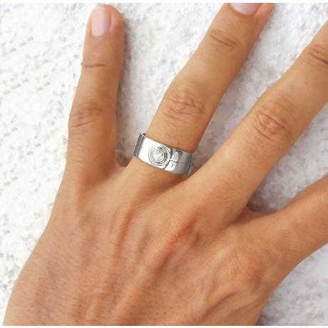 Bague homme chevalière - 8mm or blanc 18cts - Diamant   Octave