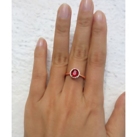 Bague rubis 1ct, Or rose et diamants. Enmènes-moi