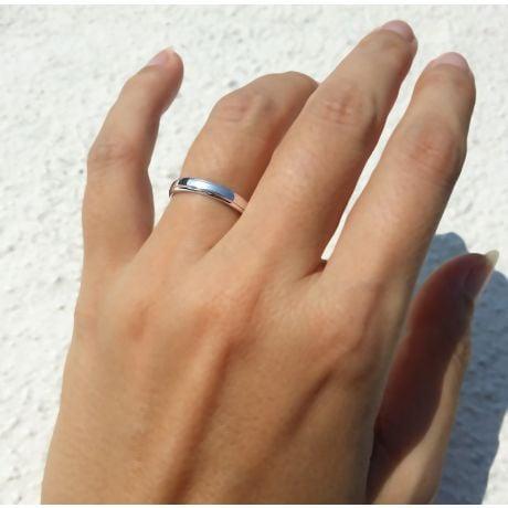Anneau d'or blanc 750/1000 - Alliance androgyne Femme - Diamant | Madeline
