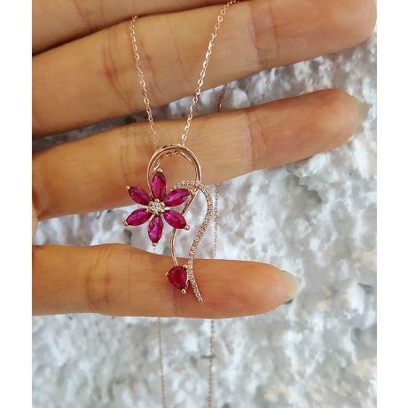 Ciondolo fiore in oro rosa - Rubini e Diamanti incastonati