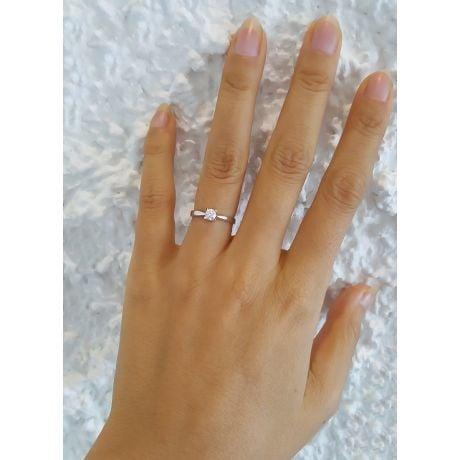 Solitaire or blanc diamant - Bague symbole du cœur et de l'amour