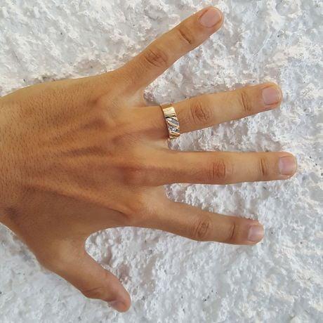 Bague stylisée homme or gris - Or jaune 18cts & Diamant | Marcus