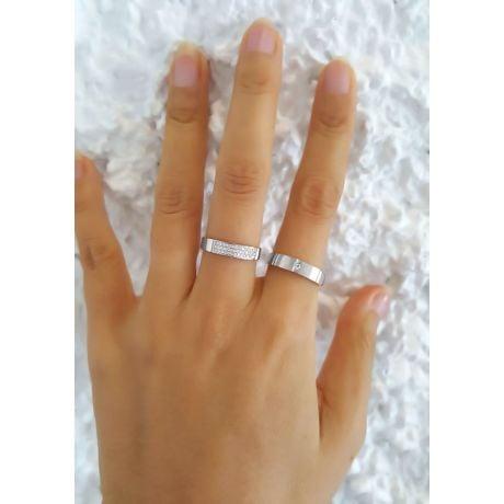 Alliances or blanc Couple - Sertissage diamants