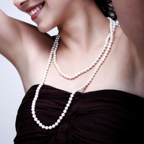 Collier de mariage - Perles Akoya - Perle du japon blanche - 6.5/7mm
