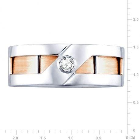 Anello Uomo - Oro bianco, rosa - Diamante 0.060ct