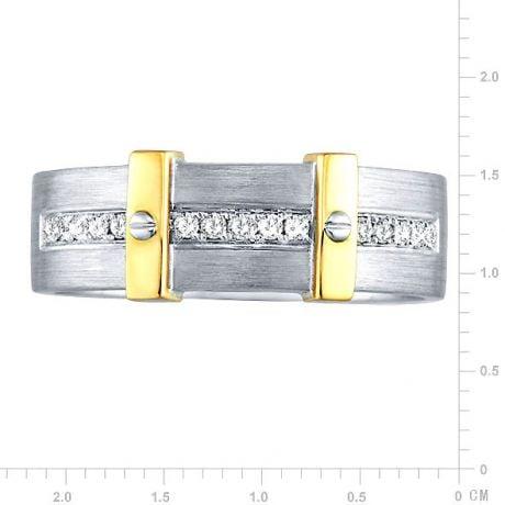 Bague pour homme barrée de diamants - 2 ors jaune et blanc