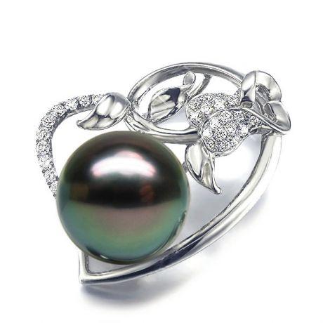 Ciondolo Rosa Paz - Oro Bianco, Diamanti e Perla Tahiti