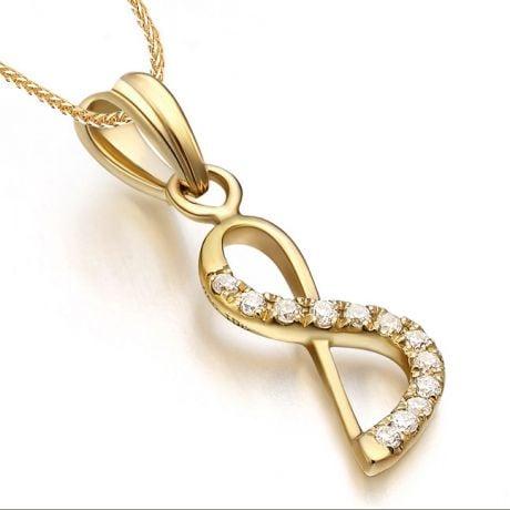 Pendentif chiffre 8 - Or jaune 18cts - Diamants 0.024ct