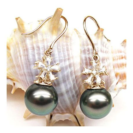 Boucles d'oreilles perles Tahiti - Création florale - Or jaune, diamants