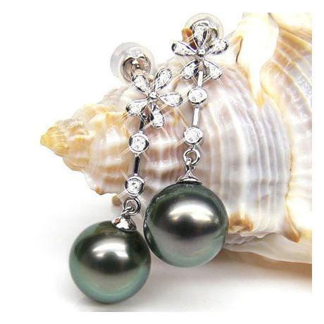 Création Boucles d'oreilles fleurs - Perles de Tahiti - Pendants or blanc, diamants