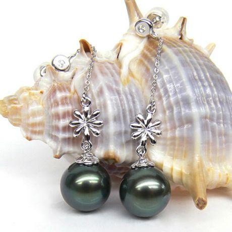 Orecchini fiori - Pendenti oro bianco - Perle di Tahiti nere, blu - 9/10mm