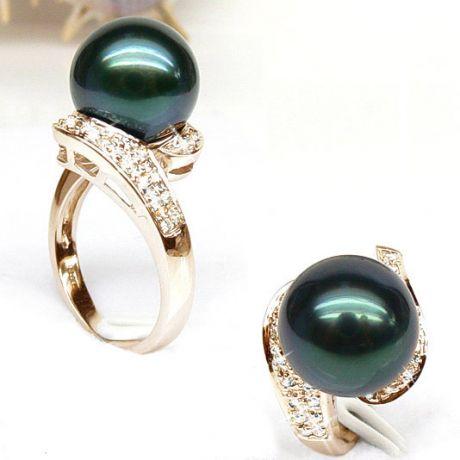 Anello oro giallo - Perla di Tahiti nera, verde, blu - 10.5/11mm