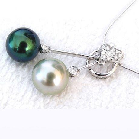 Pendentif coeur toi et moi - Perles mers du sud - Or blanc, diamants