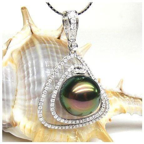 Pendentif trésor des océans - Perle de Tahiti - Or blanc, diamants