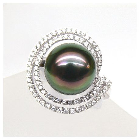 Anello Mariannes - Oro Bianco, Diamanti e Perla di Tahiti