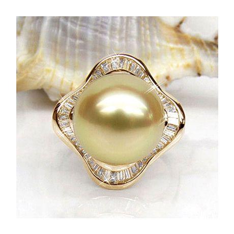 Anello Bonaparte - Perla dei Mari del Sud Dorata e Oro Giallo