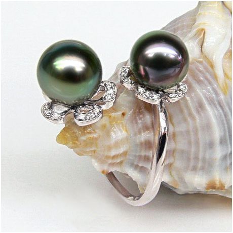 Bague You and Me - Perles Tahiti vertes, aubergines - Or blanc, diamants