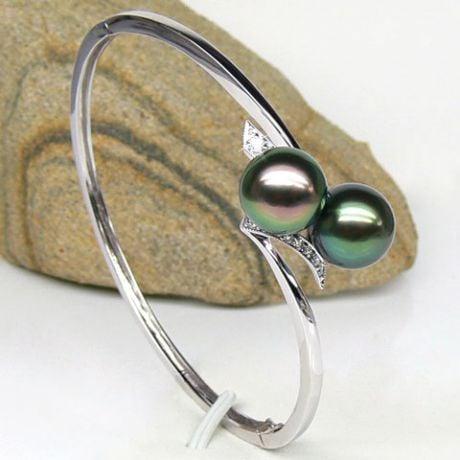 Bracelet jonc or blanc diamants - Perles Tahiti tons paons aubergines