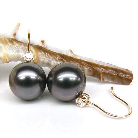 Boucles oreilles crochets - Perles de Tahiti - Or jaune, diamant