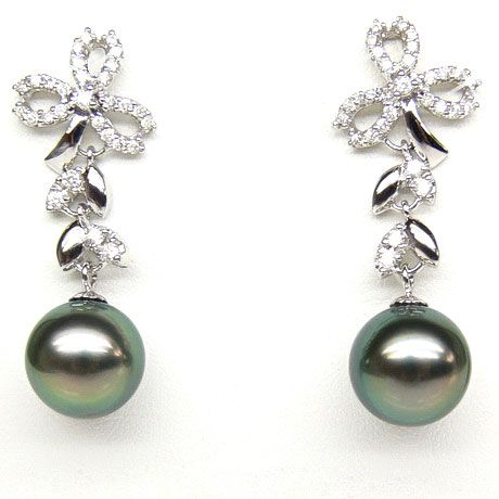 Boucles oreilles or blanc - Perles de Tahiti - Diamants - Composition florale