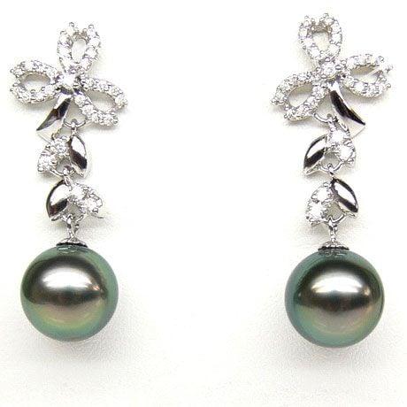 Orecchini Pendenti Florale - Perle di Tahiti Nere, Diamanti, Oro Bianco