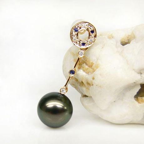 Orecchini zaffiri - Pendenti oro giallo - Perle di Tahiti nere, verdi - 9/10mm