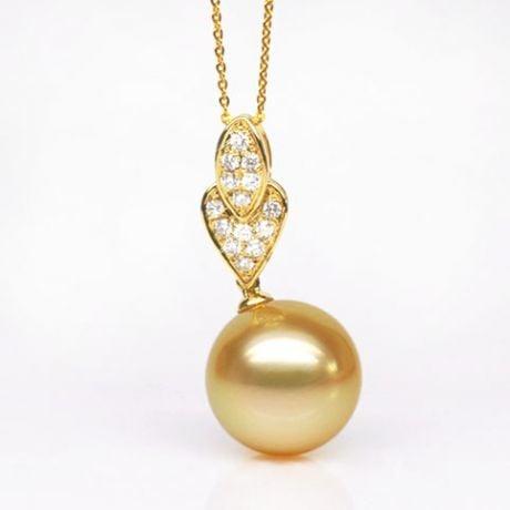 Pendentif ovale et marquise - Perle d'Australie dorée - Or jaune