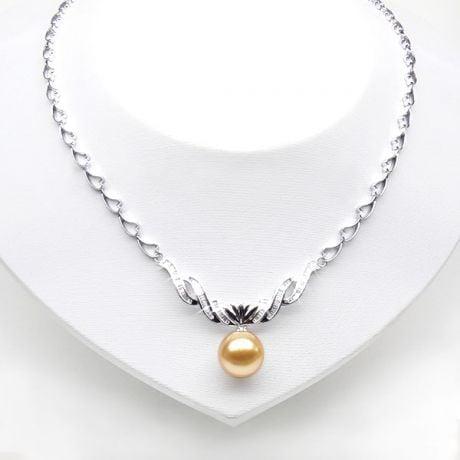 Collier or blanc maille coeur et diamants - Perle australie dorée