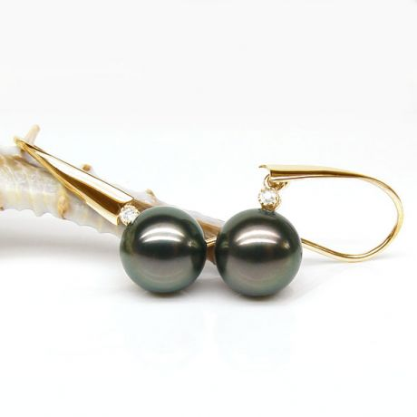 Boucles oreilles perles Tahiti - Crochets perles noires paons - Or jaune