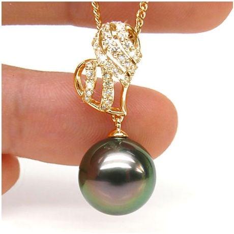 Pendentif stylisé - Coeur - Perle de Tahiti - Or jaune, diamants